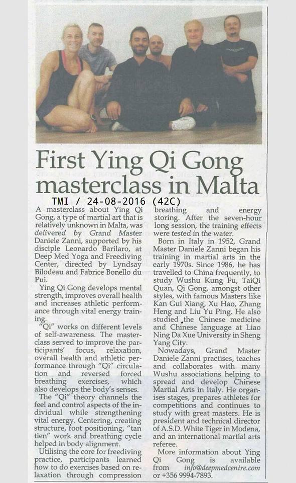 Ying Qi Gong Masterclass press clip