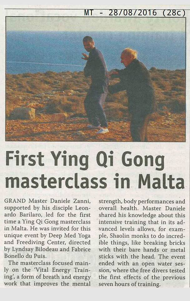Ying Qi Gong on Malta Today press clip