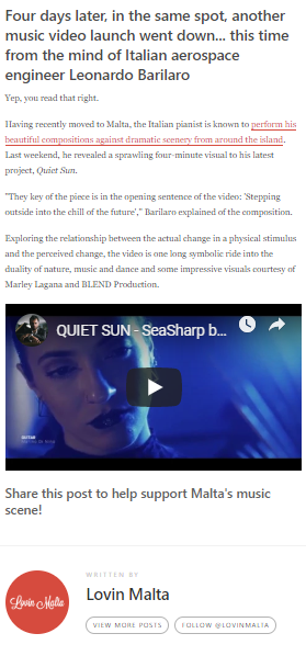 Quiet Sun on Lovin Malta press clip