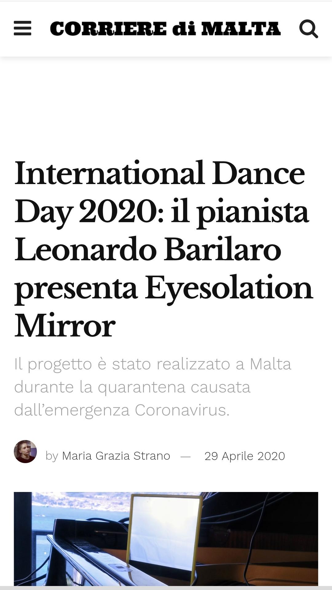 Eyesolation Mirrors on CORRIERE DI MALTA