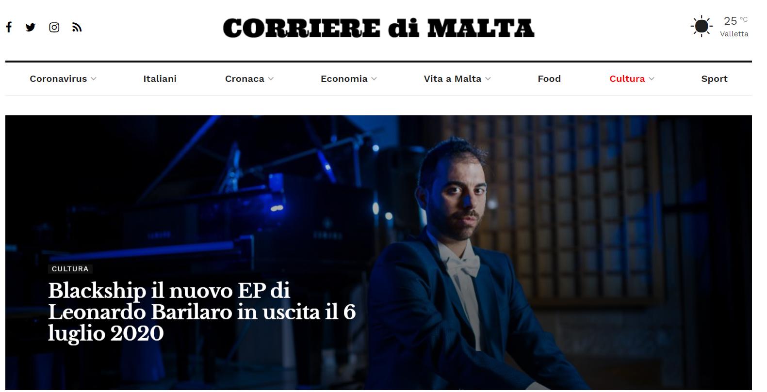 BlackShip EP on CORRIERE DI MALTA